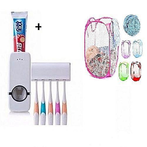 Toothpaste Dispenser & Tooth Brush Holder + 1 Free Foldable Laundry Basket*