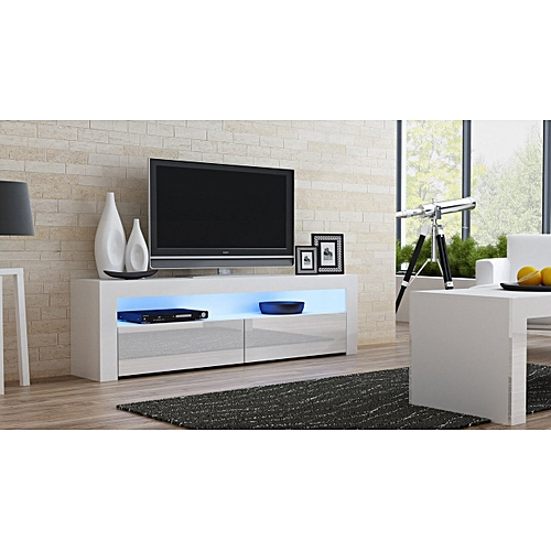 MILANO Classic WHITE - TV Stand Up To 70-inch Flat TV Screens – LED Lighting And High Gloss Finish Front Doors(Delivery Within Lagos Only)