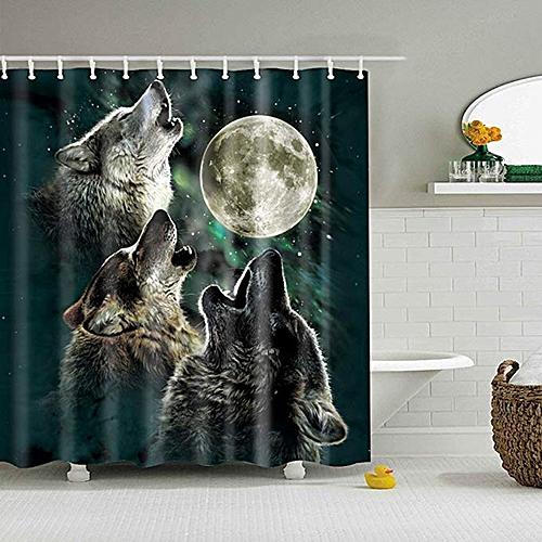 1x Moon Wolf Bathroom Pedestal Toilet Seat Mat Bath Lid Cover+ Shower Curtain
