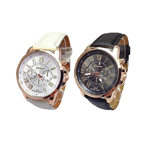 Geneva 2 In 1 Ladies Dress Style Choice Leather Watch - Black & White