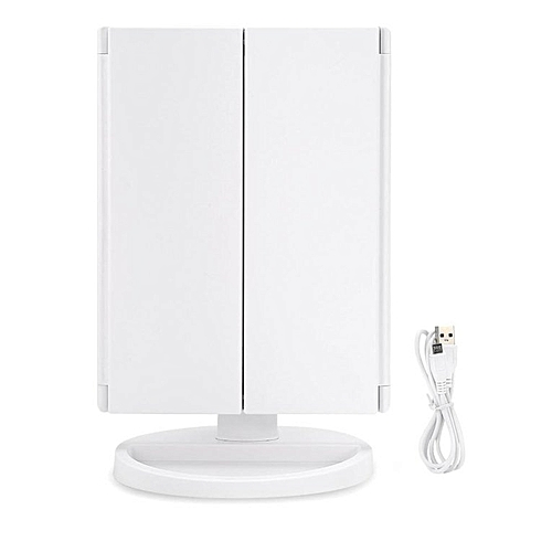LED Three Fold Table Bathroom Makeup Mirror 180 Degree Free Rotation White