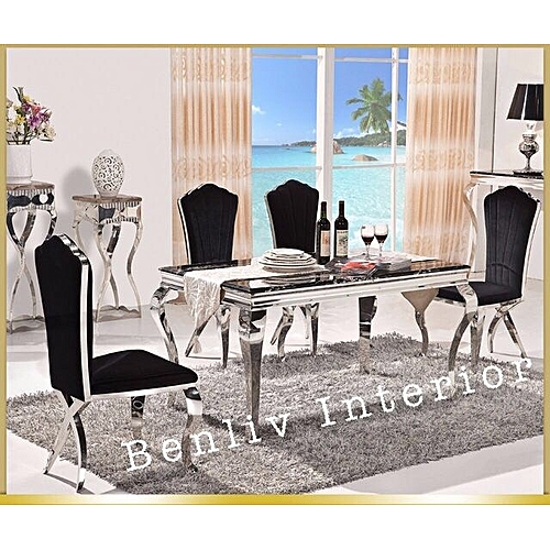Marble Dining Table With Six Sitting Chairs (Delivery Within Lagos Only)