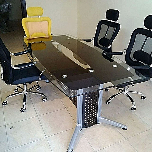 5.3FT Black Glass Conference Office Furniture With 6 Chair Capacity