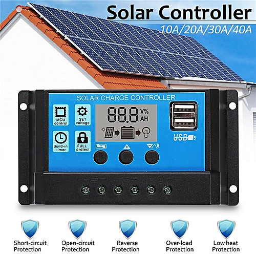 10/20/30/40A Solar Panel Controller Battery Charge Regulator 12V/24V W/ Dual USB