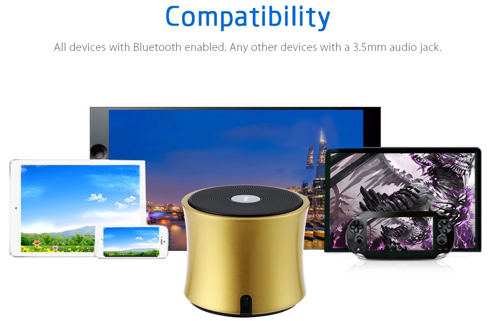 AbramTek X5 Portable Bluetooth 4.0 Wireless Speaker FM Radio TF Card AUX Music Player
