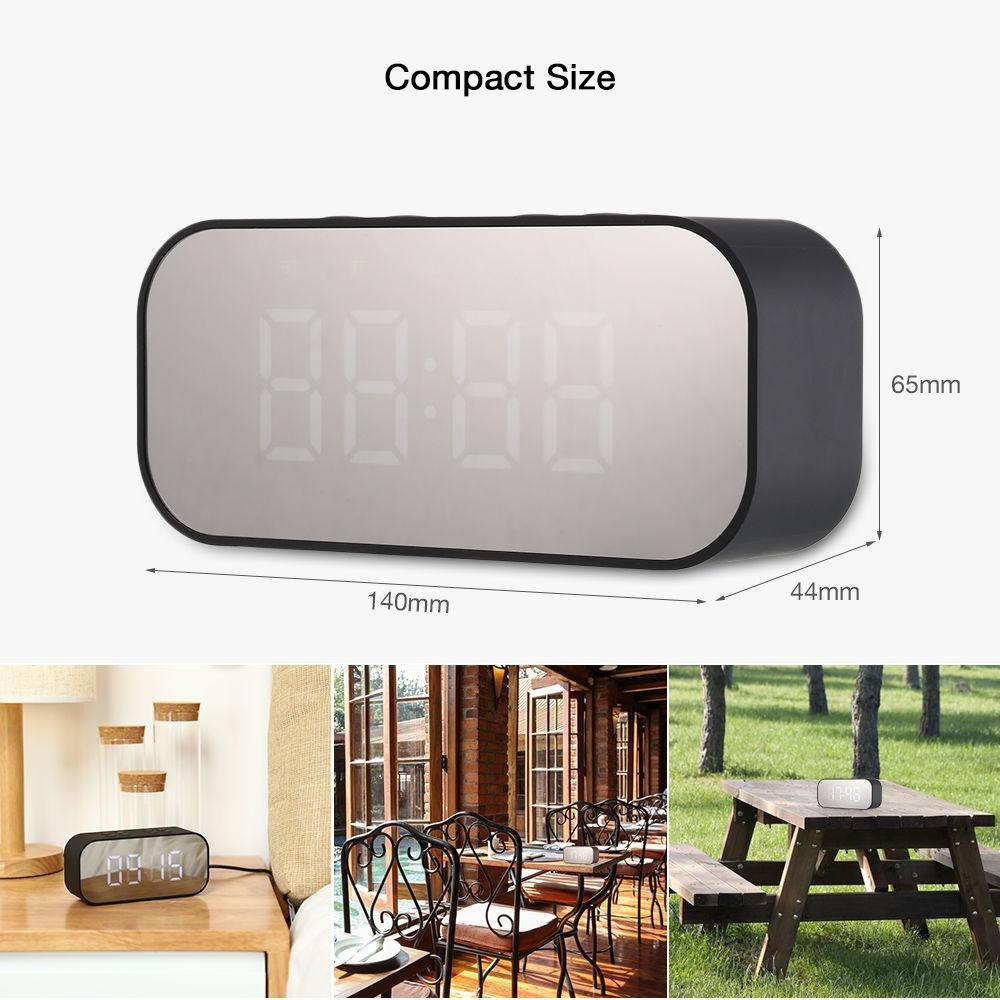 AEC BT501 Portable Alarm Clock Wireless Bluetooth Stereo Speaker LED Display