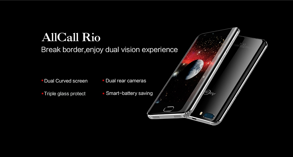 Allcall Rio 3G Smartphone 5.0 inch Android 7.0 MTK6580A Quad Core 1.3GHz 1GB RAM 16GB ROM GPS 3D Curved Glass Screen Dual Rear Cameras
