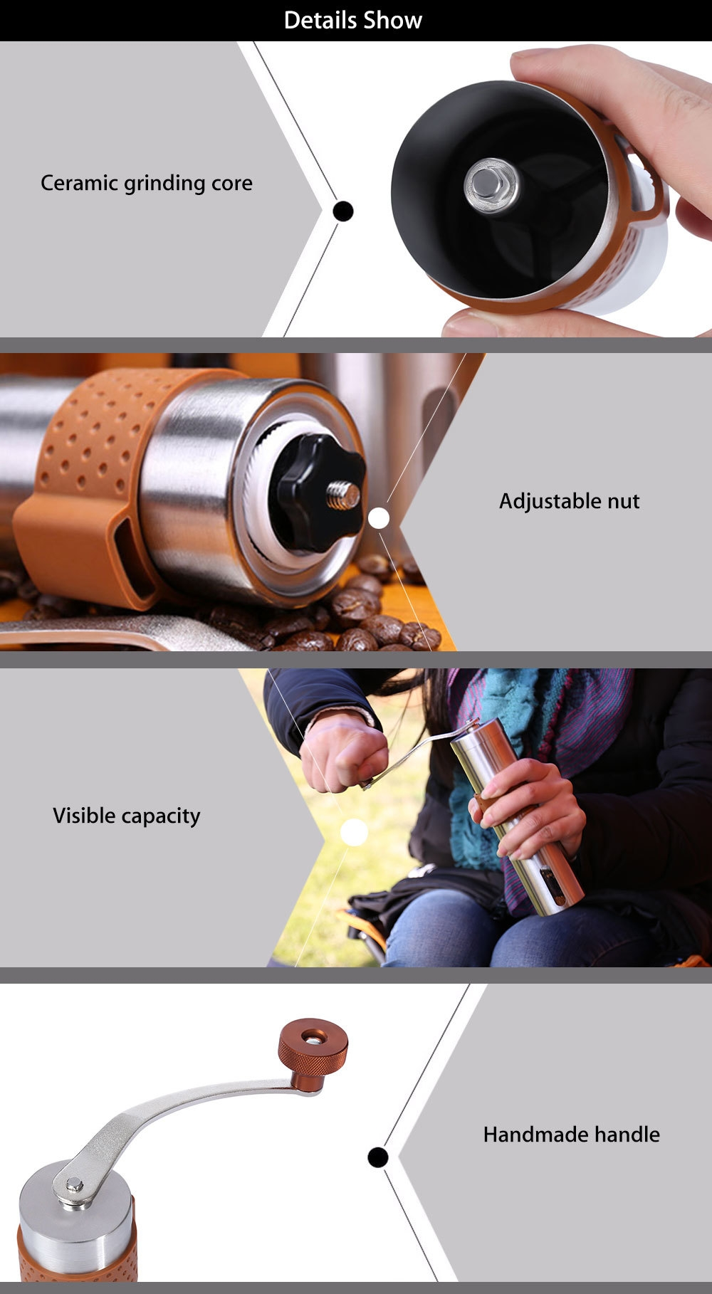 ALOCS CW - K17 Portable Outdoor Camping Home Handmade Coffee Bean Grinder