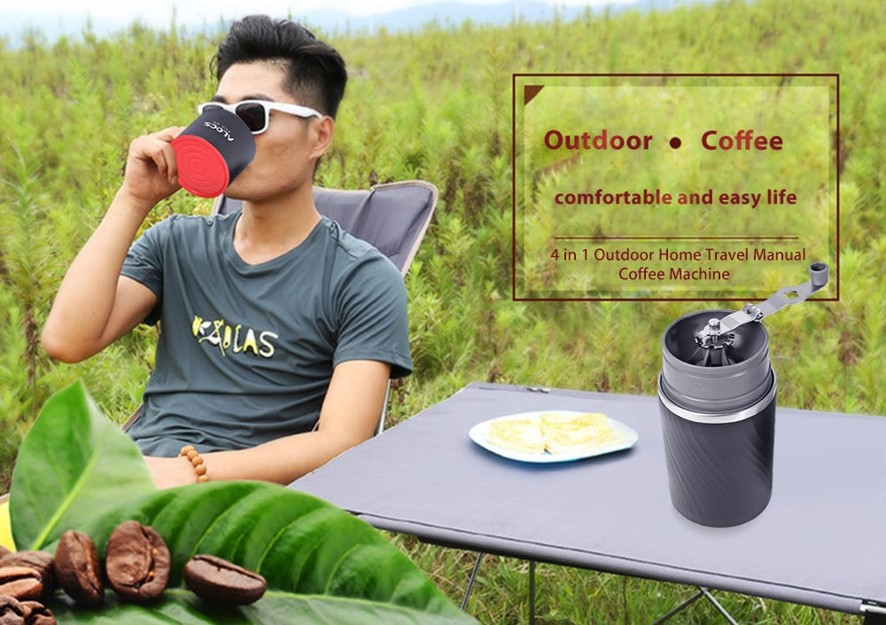 ALOCS CW - K16 4 in 1 Portable Outdoor Camping Multifunction Coffee Mug Grinding Machine