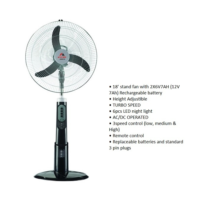 Buy Andrakk 18-Inch Rechargeable Fan on Jumia
