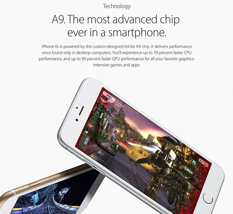 Image result for Apple iPhone 6s 16GB Rose Gold a9 chip