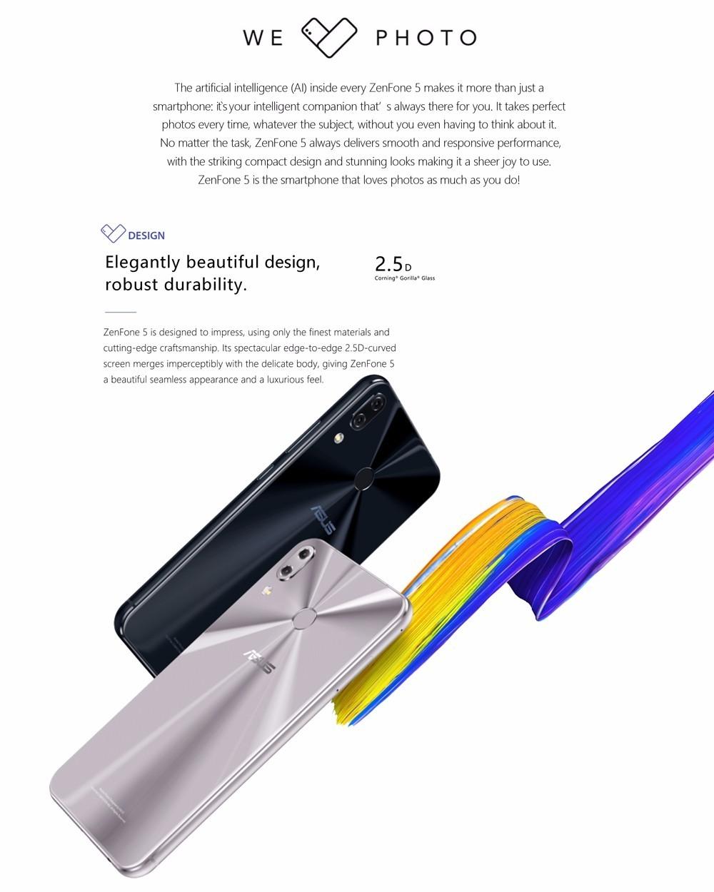 Asus ZENFONE 5 ZE620KL 4G Phablet Android O 6.2 inch Qualcomm Snapdragon 636 Octa Core 1.8GHz 4GB RAM 64GB ROM Fingerprint Scanner Type-C Bluetooth 5.0