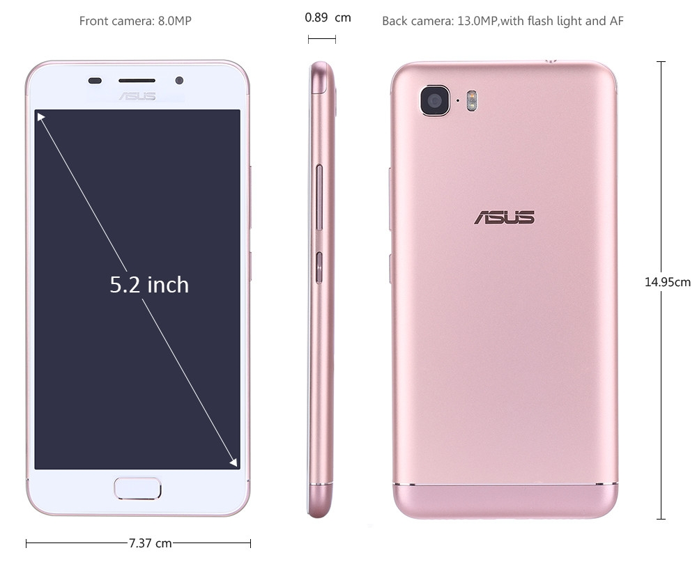 ASUS Pegasus 3S 4G Smartphone 5.2 inch Android 7.0 MTK6750 Octa Core 1.5GHz 3GB RAM 64GB ROM 8.0MP + 13.0MP Cameras Fingerprint Scanner