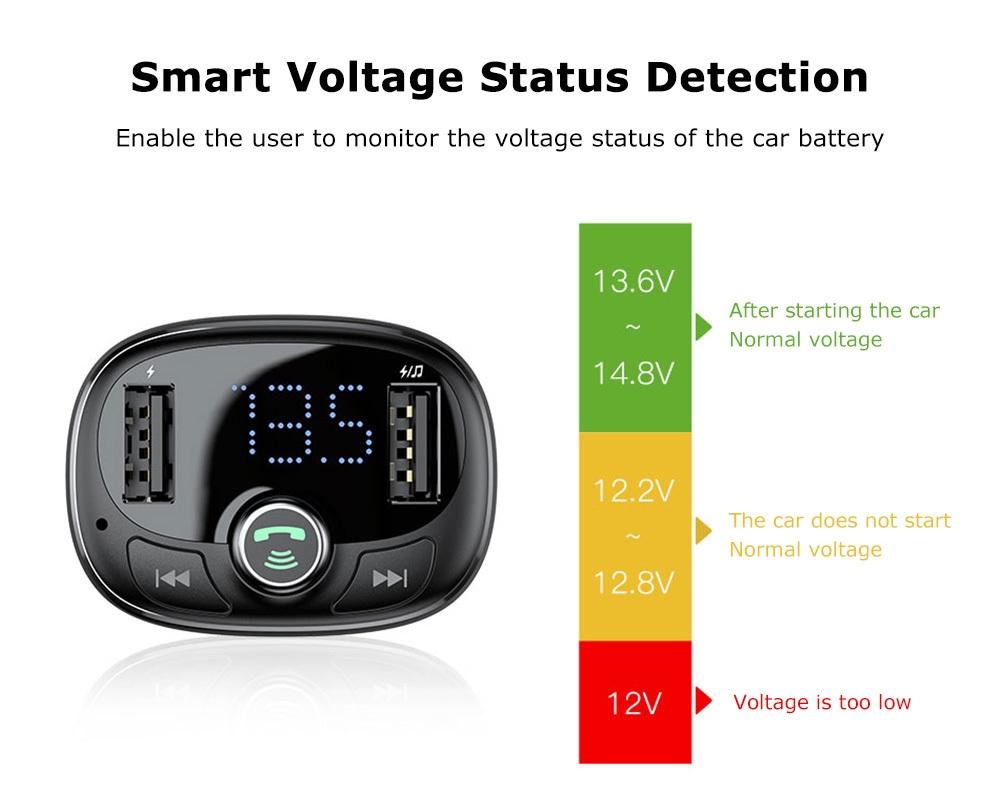 Baseus S - 09 T-shape Bluetooth V4.2 MP3 Dual USB Car Charger LED Screen