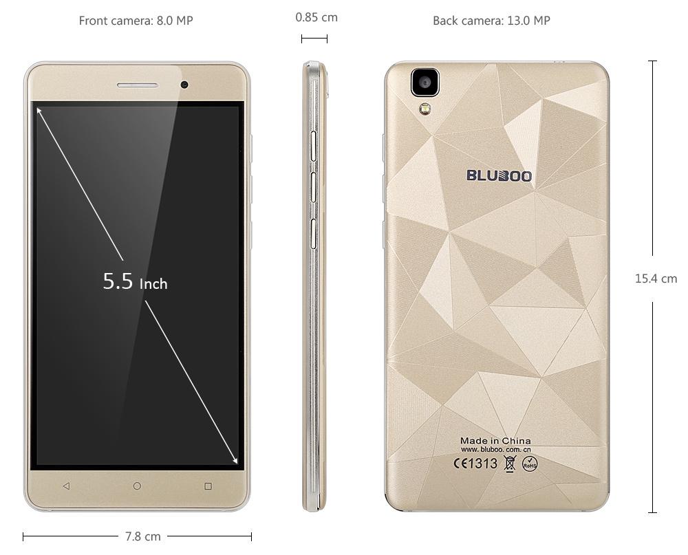 Bluboo Maya Android 6.0 5.5 inch HD Screen 3G Phablet MTK6580 Quad Core 1.3GHz 2GB RAM 16GB ROM Gravity Sensor
