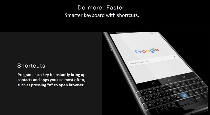 Blackberry KeyOne with shortcuts on Jumia