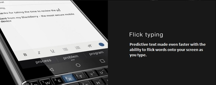 Blackberry KeyOne flick typing