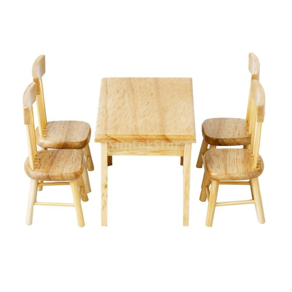 Footful Dining Table Chair Model Set Miniature Furniture