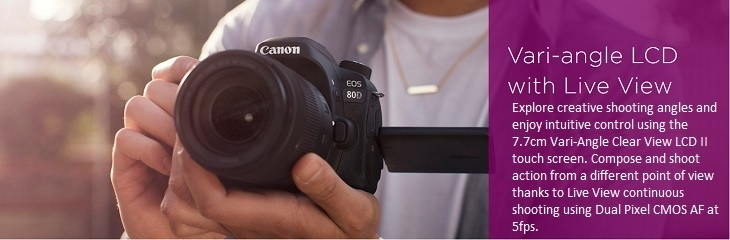 Canon EOS 80D LCD with Live View