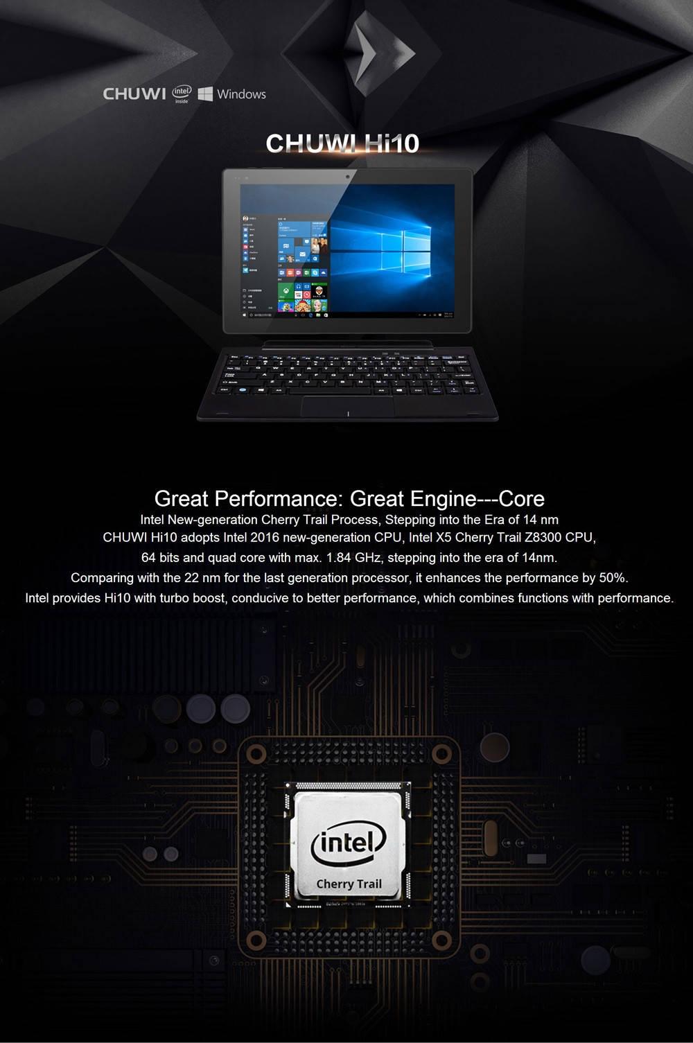 10.1 inch Chuwi Hi10 Windows 10 + Android 5.1 Ultrabook Tablet PC Intel Cherry Trail Z8300 64bit Quad Core 1.44GHz IPS Retina Screen 4GB RAM 64GB ROM WiFi HDMI Bluetooth 4.0