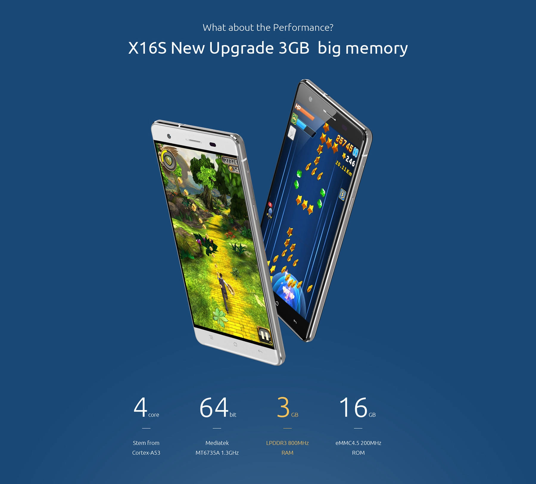 Cubot X16 S Android 6.0 5 inch 4G Smartphone MT6735 Quad Core 1.3GHz 3GB RAM 16GB ROM Dual Cameras OTG GPS