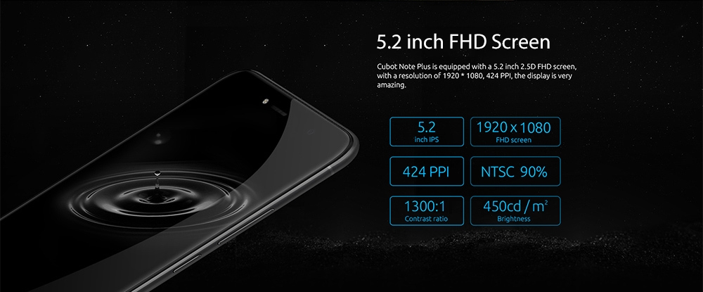 Cubot Note Plus 4G Smartphone 5.2 inch Android 7.0 MTK6737T Quad Core 1.5GHz 3GB RAM 32GB ROM 13.0MP Rear Camera Fingerprint