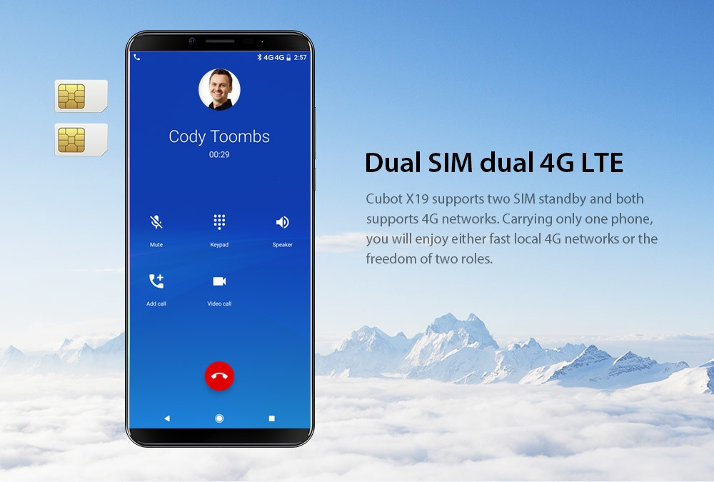 CUBOT X19 4G Phablet 5.93 inch Android 8.1 MT6763T ( Helio P23 ) Octa-core 2.5GHz 64-bit 4GB RAM 64GB ROM 16.0MP + 2.0MP Rear Camera Fingerprint Sensor 4000mAh Built-in