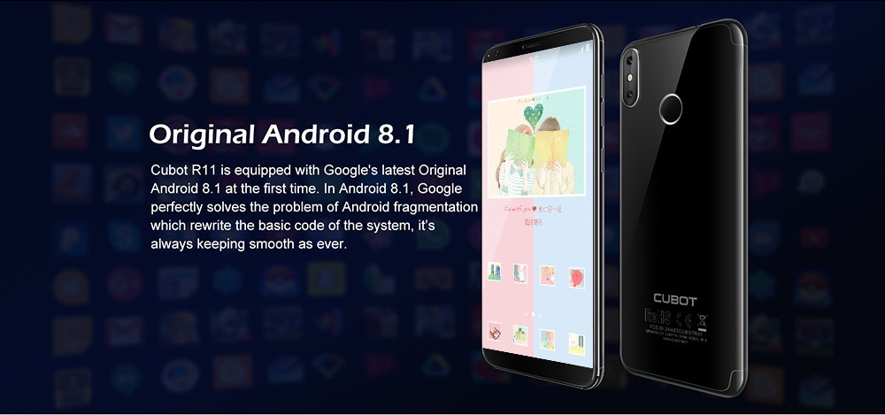 CUBOTR11 3G Phablet 5.5 inch Android 8.1 MTK6580 1.3GHz Quad Core 2GB RAM 16GB ROM Dual Rear Cameras Fingerprint Recognition