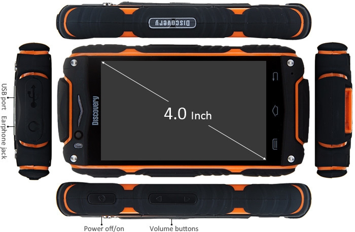 4.0 inch Discovery V8 Android 4.4 3G Smartphone MTK6572 1.0GHz Dual Core WiFi GPS Waterproof Dustproof Shockproof 4GB ROM
