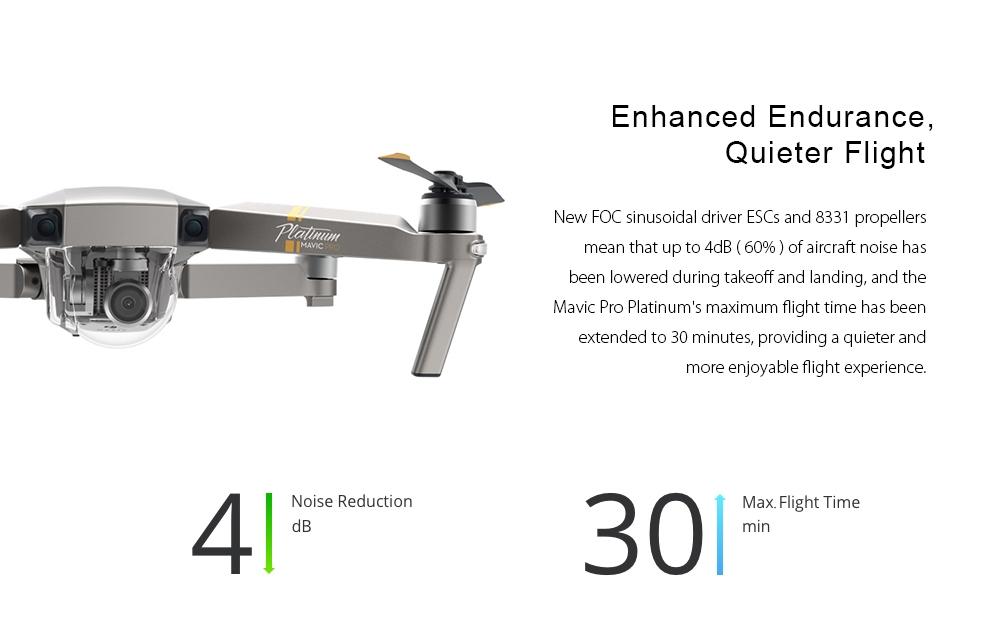 DJI Mavic Pro Platinum Foldable RC Drone RTF WiFi FPV 4K UHD / 4dB Noise Reduction / 30min Flight Time