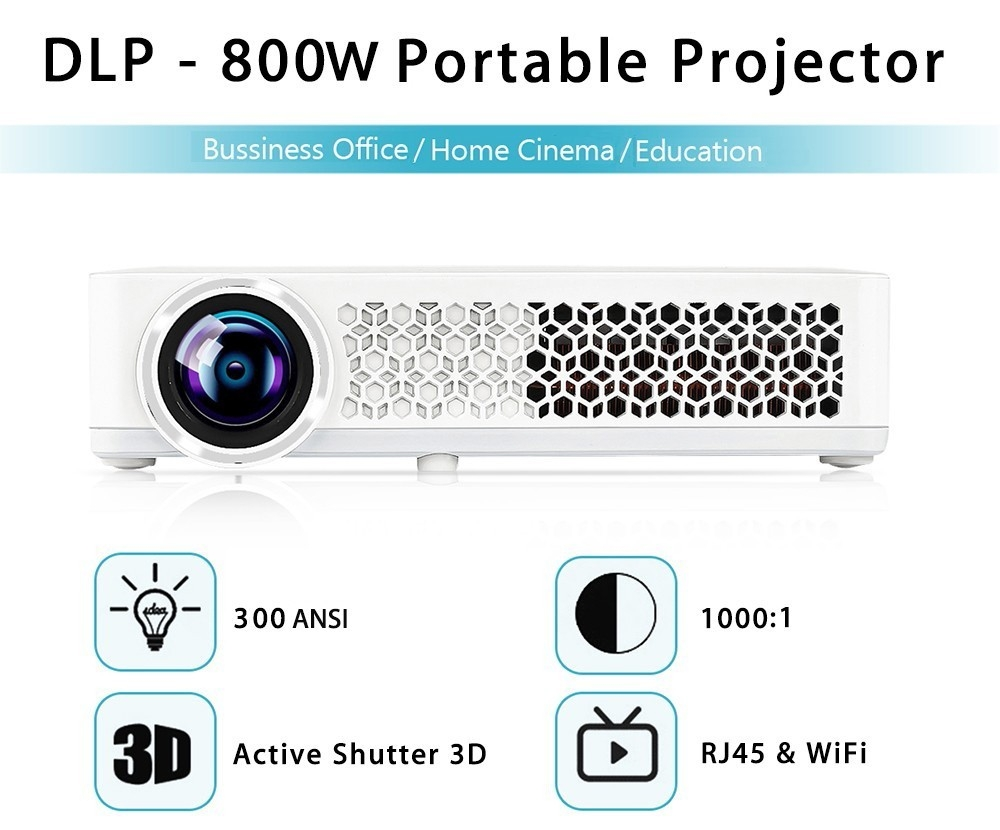 DLP - 800W Portable Projector 1280 x 800 Pixels 300ANSI Android 4.4.4 1080P WiFi Bluetooth 4.0 Multimedia Player