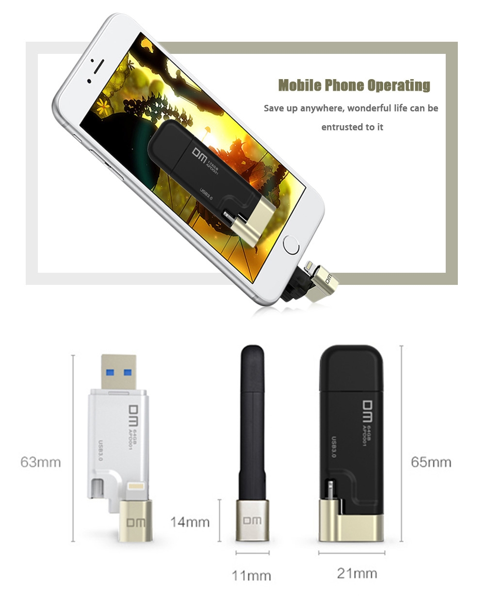 DM APD001 32GB USB 3.0 8 Pin OTG U Disk Data Transmission Drive for iPhone / iPad