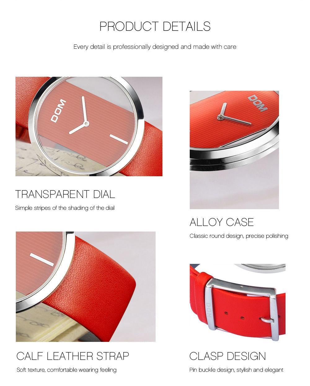 DOM 205 Fashion Hollow Dial Genuine Leather Strap Women Casual Quartz Watch