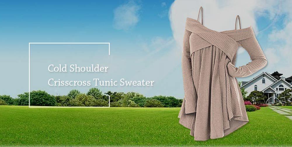 Open Shoulder Crisscross Tunic Sweater