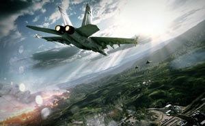 Close-up image of jet air support in Battlefield 3