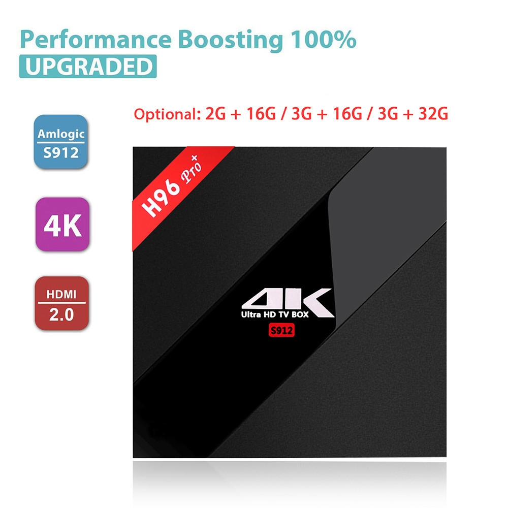 H96 Pro+ TV Box Amlogic S912 Octa Core CPU Android 7.1 OS BT 4.1 2.4GHz + 5.0GHz WiFi Mini PC