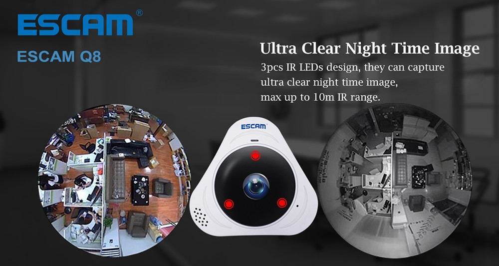 ESCAM Q8 360 Degree Panoramic WiFi IP Camera 960P Fisheye Lens