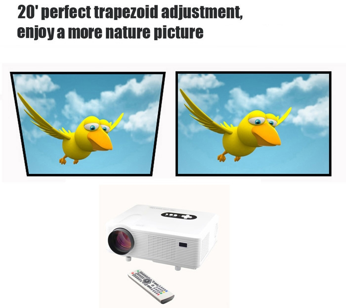 Excelvan CL720D LED Projector 3000LM 1280 x 800 Native Resolution with Digital TV Interface Support HDMI USB VGA AV Input