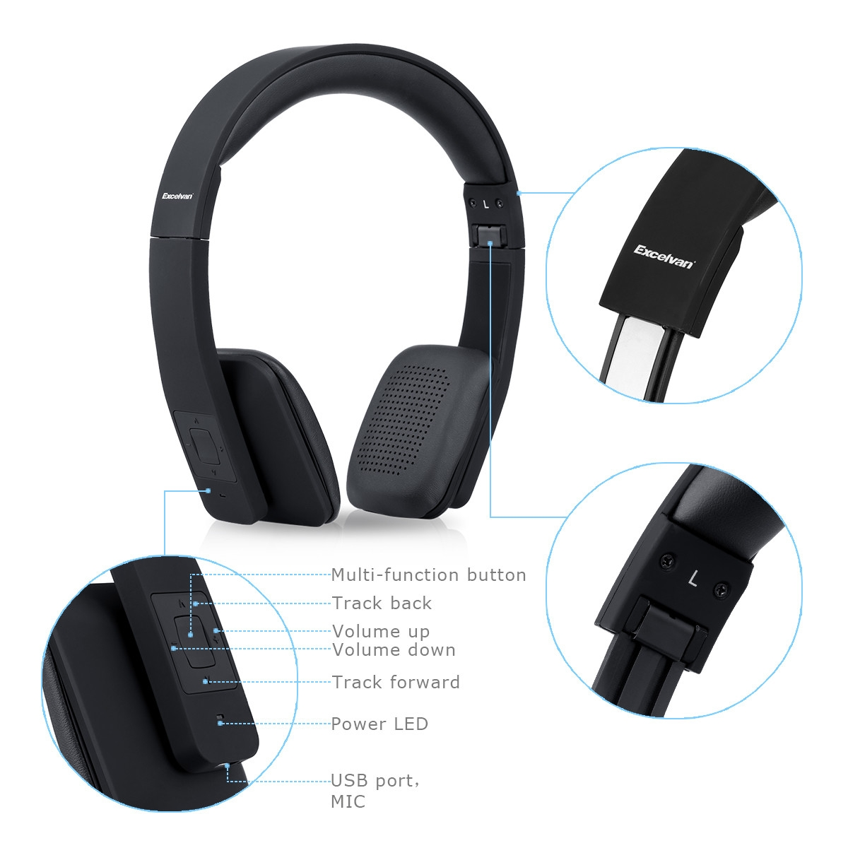 Excelvan B301 Fordable Telescopic Bluetooth Headphone - Black