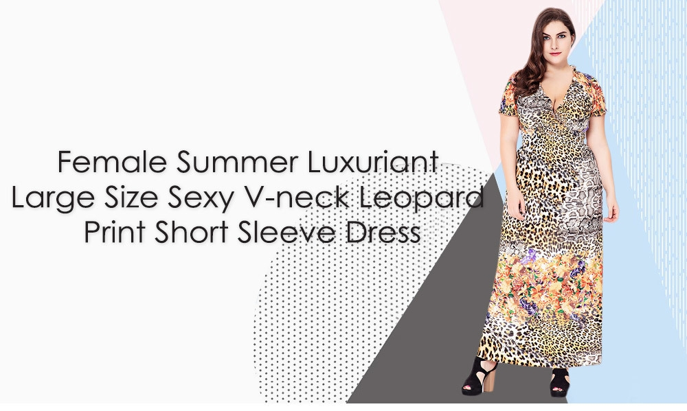 Female Summer Luxuriant Large Size Sexy V-neck Leopard Print Short Sleeve Dress