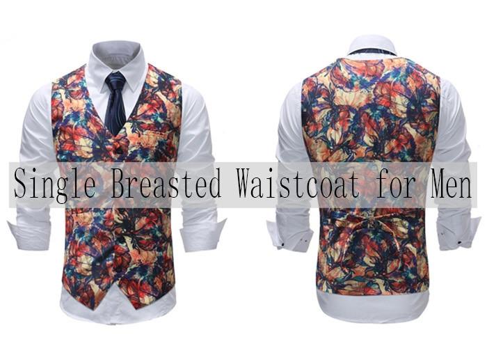 Paint Flower V Neck Single Breasted Waistcoat