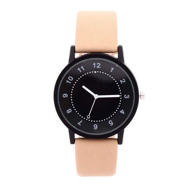 Fashion Ladies Watches Round Dial Leather Skin Strap Quartz-Beige
