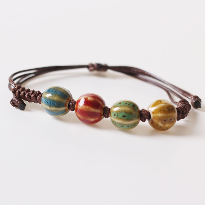 Ethnic wind bracelet hand-woven beads bracelet Jingdezhen ceramic jewelry students female adult small fresh