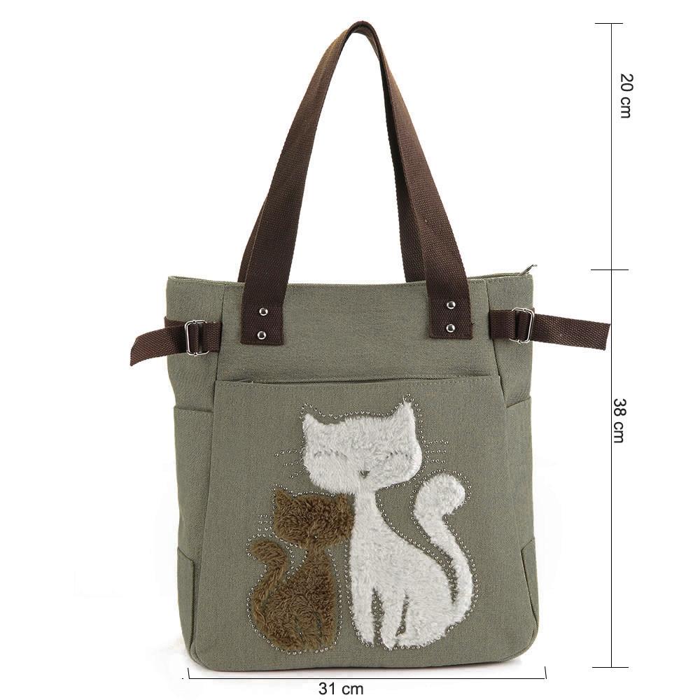 Cute Cat Print Beaded Zippered Women Canvas Handbag