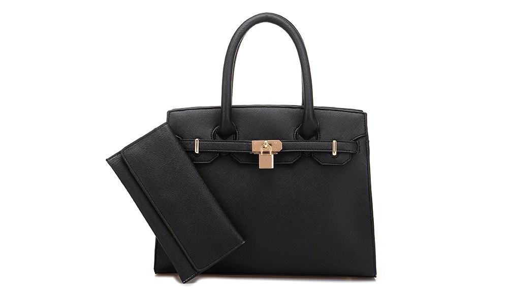 26ab694df10 2 PcsSet Handbags Long Purse Shoulder Bag Platinum Top-handle Women Bag  Lock Messenger Bags