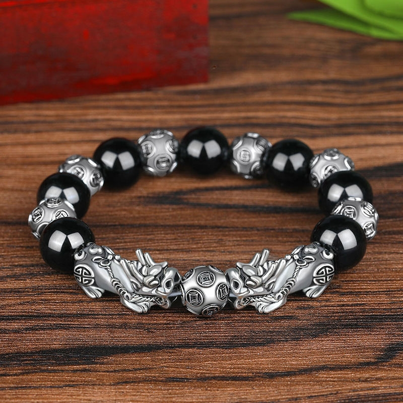 Imitation S999 Sterling Silver 3D Hard Retro Men's Domineering Thai Silver Pixiu Bracelet Lucky Ancient Silver Obsidian Bead Bracelet