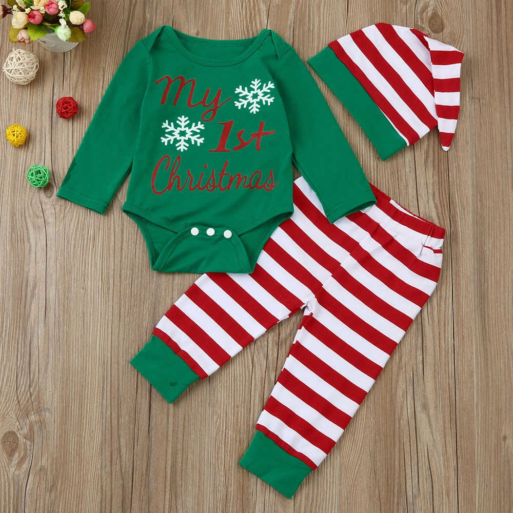 78f525968c9 Fashion Kid Newborn Infant Baby Boy Girl Romper Tops+Striped Pants Sport  Pants+Hat Christmas Outfits Set Suit Musiccool
