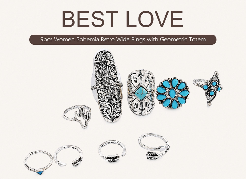 9pcs Women Bohemia Retro Wide Rings with Geometric Totem