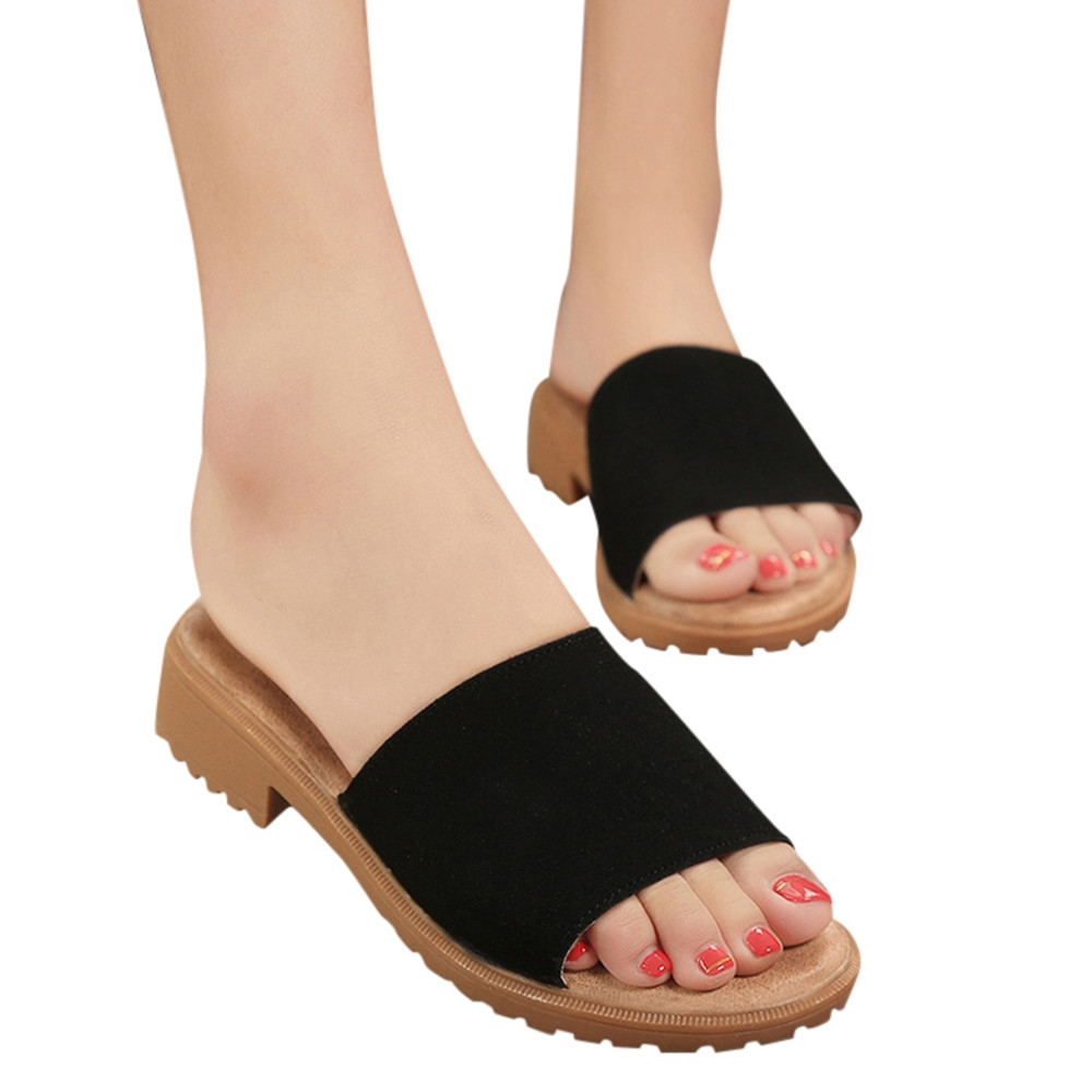 93dc76b3e5e Fashion Blicool Shop Shoes Women s Ladies Slippers Solid Fashion Flat Ankle  Sandals Summer Shoes-Black