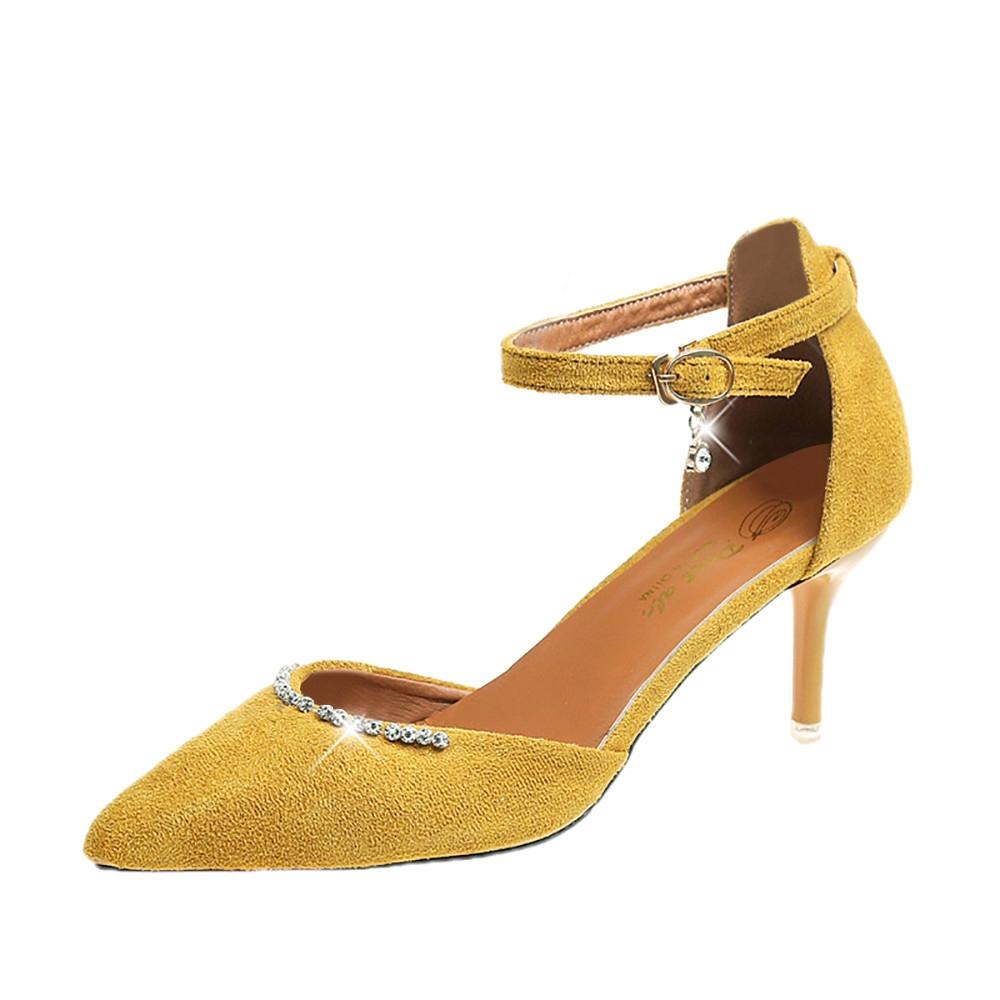 79b13d3aae Fashion Olivaren Women Thin Heels Nude Pointed Toe Imitation Diamond Ankle  Strap High Heels Shoes -Yellow